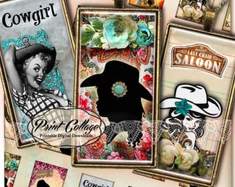Domino Pendants Printable images  Digital Collage Sheet 1 x 2 inch Jewelry Backgrounds Clip Art Cow Girl c105