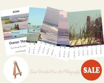 2016 desk calendar, beach photography calendar, ocean photo calendar, mini calendar with easel, 4x6 calendar, loose page, sale, photo gift