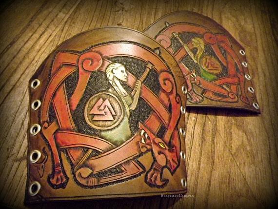 Fully Custom Tooled Women's Viking Knotwork Bracers / Vambraces / Armguards - Odin, Mjolnir, Thor, Wolves, Ravens
