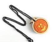 Pumpkin Embroidery Necklace-Pumpkin Necklace-Jack o Lantern Necklace-Halloween Necklace-Jack o Lantern Embroidery-Halloween Embroidery
