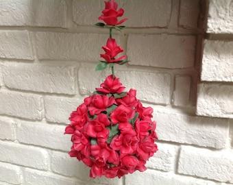 Vintage red Rose floral mistletoe Christmas decoration