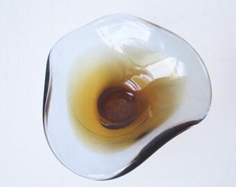 Mid century, amber, wavy, glass bowl
