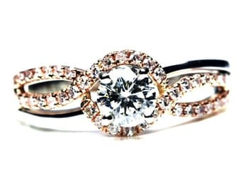 Unique Rose Gold Halo Engagement Ring - GIA/AGS