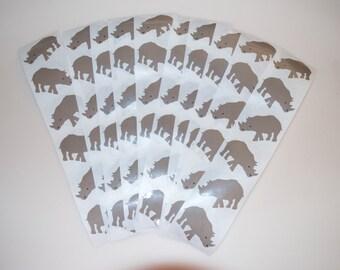 Mrs. Grossman's Vintage Rhino Rhinoceros Sticker Stickers Lot of 10 Strips of 6 = 60 from 1984