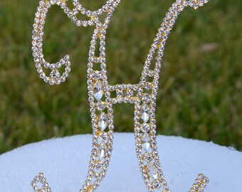 """Large 5""""  Crystal Rhinestone Gold Cake Topper Letter """"H"""" Monogram Wedding Birthday Party Top Initial CT090"""