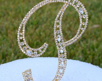 """Large 5""""  Crystal Rhinestone Gold Cake Topper Letter """"P"""" Monogram Wedding Birthday Party Top Initial CT098"""