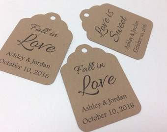 Fall Wedding Favor Tags, wedding favour tags, mason jar favor tags.  Small favor tags small wedding label. Personalized and custom