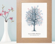 A4 Baby Shower Fingerprint Tree Suitable For Any Occasion - Personalised With Own Text - Available With a Choice of Inkpad Colours