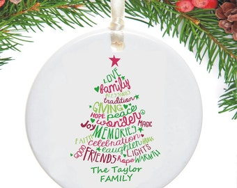 Personalised Christmas Tree Family Ceramic Bauble - Personalized Decoration - Personalised Xmas Ornament - Holiday Tree Decoration