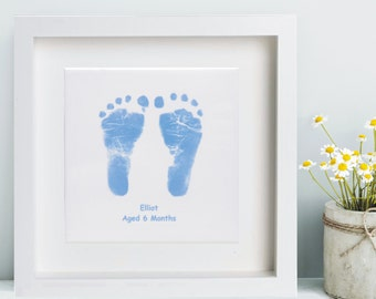Framed CeramicTile Displaying Baby Hand and Foot Print  - Baby Keepsake, Baby Prints, Handprints, Footprints, Unique, 1st Christmas