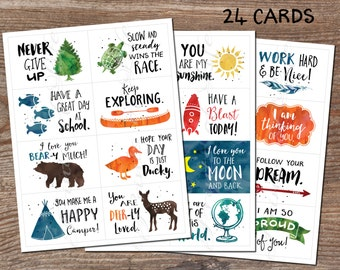Lunchbox cards. Set 5. Instant download printable PDF. 24 encouragement cards for school. Inspirational notes. child, students, kids, adults