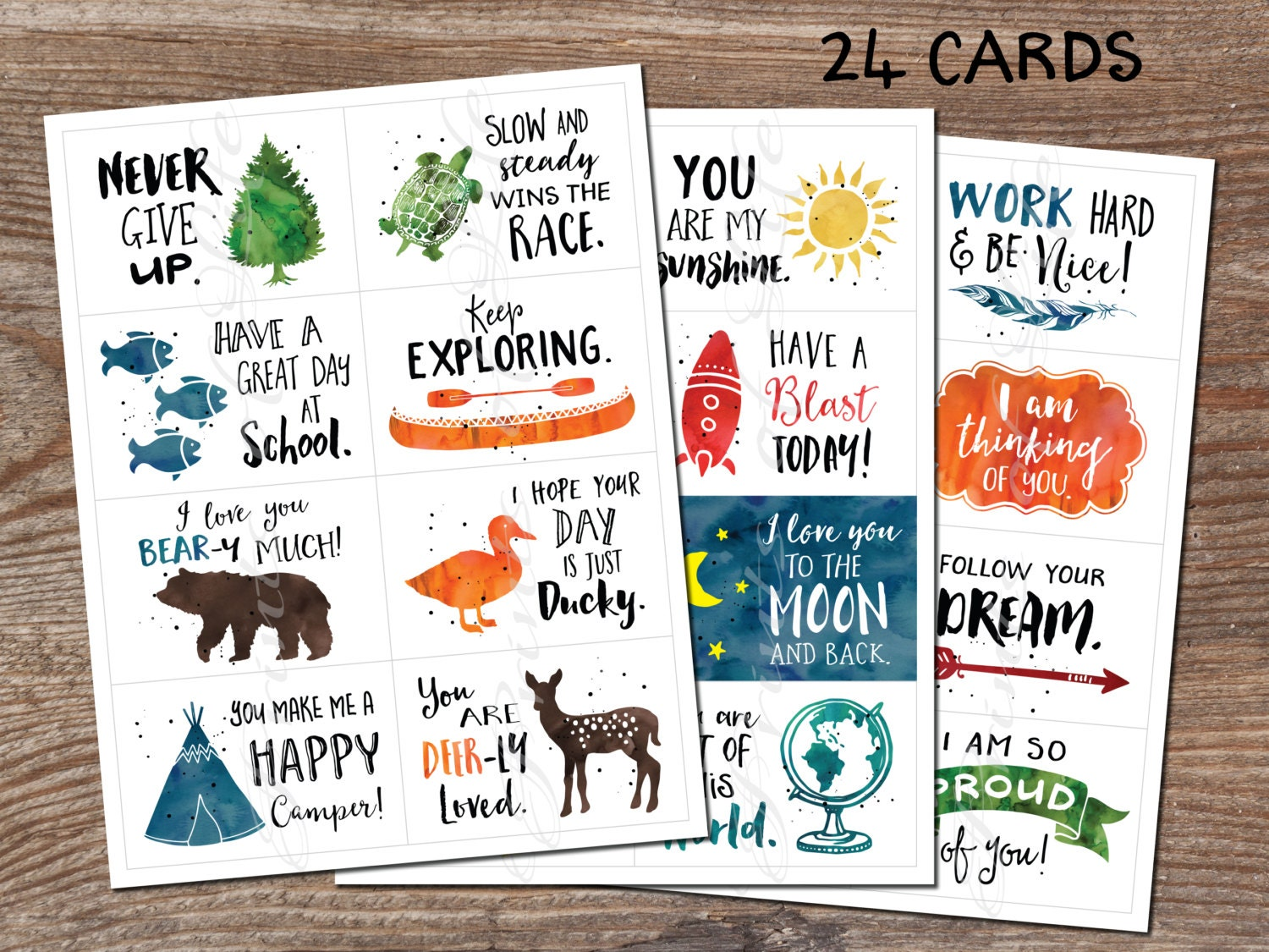Lunchbox cards. Set 5. Instant download printable PDF. 24 encouragement cards for school. Inspirational notes. child students kids adults  sc 1 st  Etsy Studio & Lunchbox cards. Set 5. Instant download printable PDF. 24 ... Aboutintivar.Com