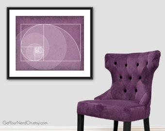 Fibonacci Spiral Art, Golden Ratio Poster, Math Nerd Decor, Math Teacher Gift