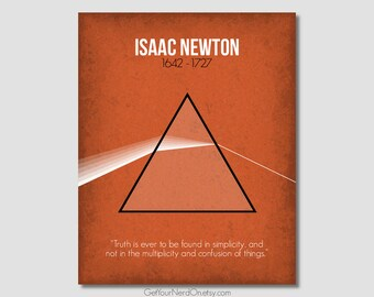 Notable Nerd Poster - Isaac Newton - Wall Art Print - Available as 8x10, 11x14 or 16x20