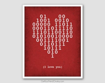 Binary Code Heart, I Love You Poster, Computer Geek Gift, Binary I Love You