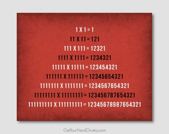 Math Nerd Poster - Fun With Multiplication - Available as 8x10, 11x14 or 16x20