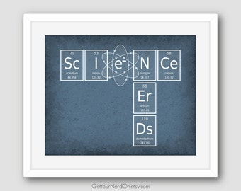 Periodic Element Word Poster - Science Nerds - Wall Art Print - Available as 8x10, 11x14 or 16x20