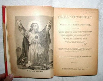 """Antique Catholic Book """"Discourses From The Pulpit"""" From 1891"""