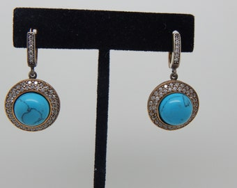 Turquoise stone Earnings , silver earrings , silver Turquoise ring,  925 sterling silver, Turquoise Silver  Earrings