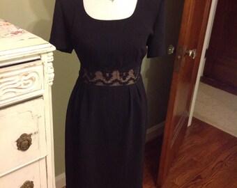 Vintage Donna Morgan Formal Black Dress, Cute Style, Ornamental Back Buttons