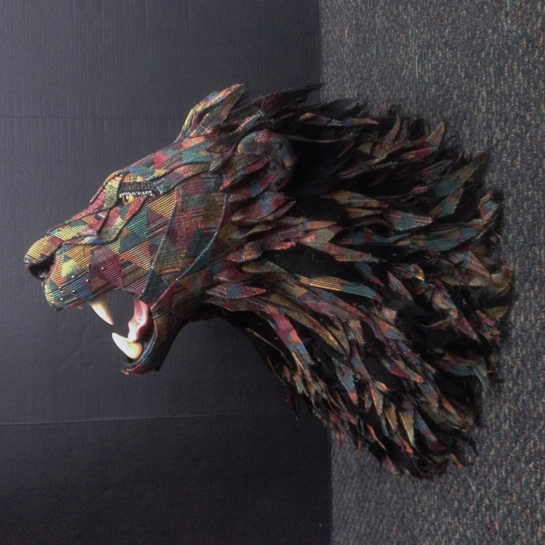 Faux Taxidermy Lion Head Wall Mount Tribal Geometric