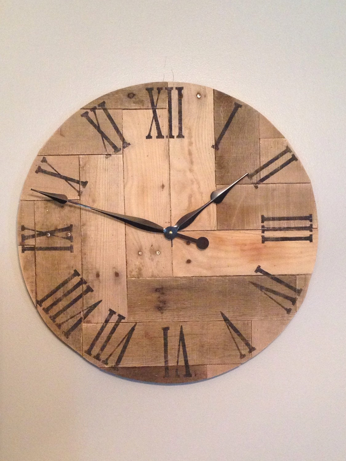 Wood Clock Rustic Wood Clock Pallet Clock By
