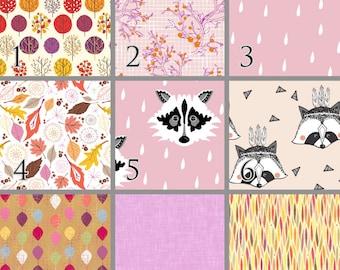 Raccoon in Pink (Baby Bedding) Premium Crib Bedding. Choose your Design.
