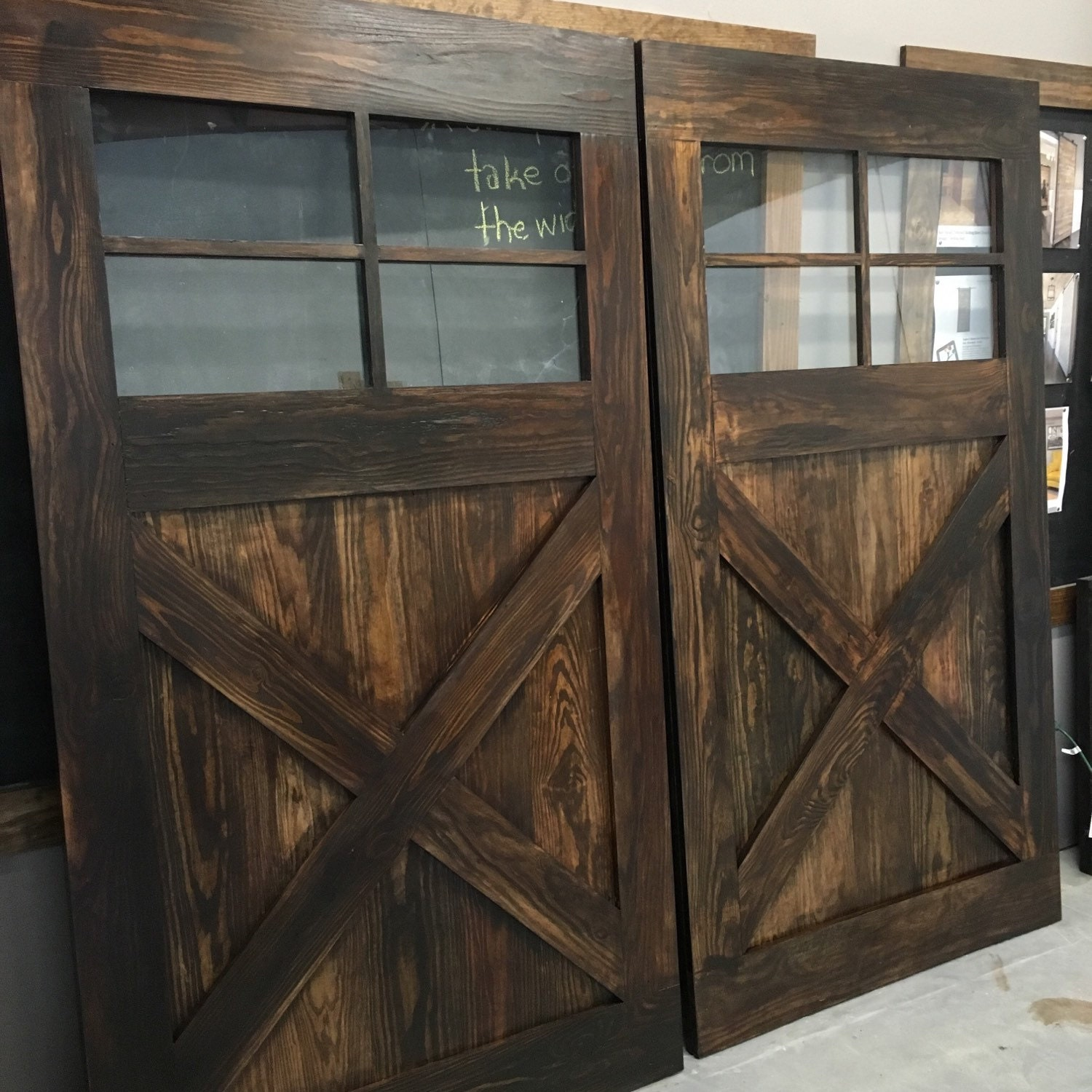 Vintage Farmhouse Design Sliding Barn Door W Glass Windows By