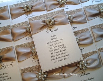 Table Plan Card. Seating Plan Tag. Wedding Seating Card. Champagne Glitter Card.