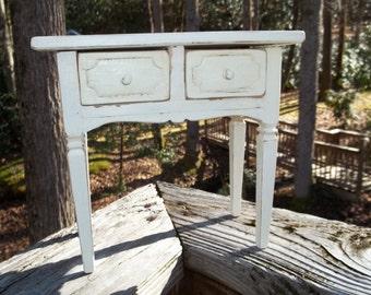 Miniature Table Desk Shabby Chic White  Jewelry Trinket Drawers Primitive