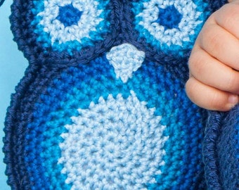 MADE TO ORDER Owl toy or pillow 100% organic cotton