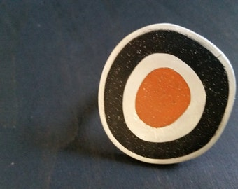 Colorful adjustable Sterling Silver ring with black and orange polymer clay inlay
