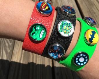 Superhero SNAP bracelet - includes 1 bracelet and 3 snaps