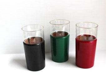 RETRO KRAFTWARE TUMBLER, Vintage plastic insulated tumbler,glass tumbler for bar,vintage barware,retro barware, Christmas tumbler,insulated