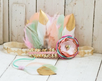 Peach, Mint, Pink and Gold Dipped Feather Headband, Indie Headdress, Feather Crown