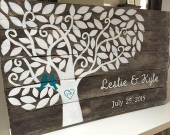 Custom wood wedding guest book sign