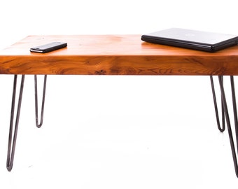 Chunky Yew Coffee Table on Hairpin Legs
