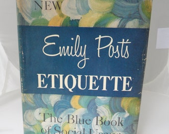 Vintage Etiquette Book Bestseller Retro Housewife Manners Hardcover Book Emily Post's Etiquette Blue Book Social Usage 10th Edition Old Book