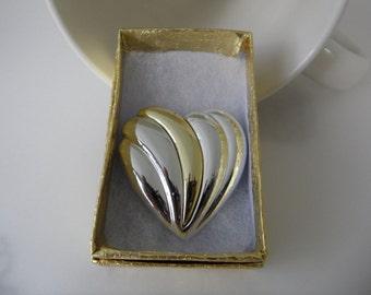 Vintage Danecraft Brooch Modernist Brooch Sweetheart Jewelry Heart Brooch Modern Brooch Cheap Jewelry Two Tone Jewelry