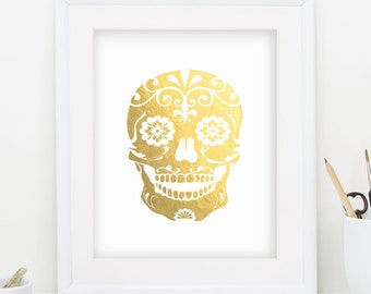 Skull Print Day of the Dead Halloween Decor Gold Foil Print Mask Printables Gold Foil Wall Art Day of the Dead Decor INSTANT DOWNLOAD 0055