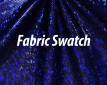Fabric Swatch - Hologram Fabric Shattered Glass Hologram Royal Blue on Black Four way Stretch Fabric Item# RXPN-RYLBLK-SWATCH