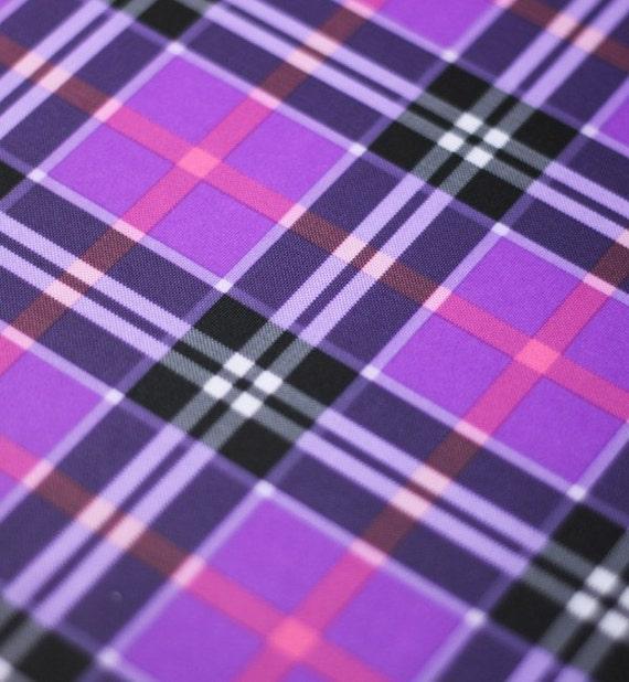 Spandex Fabric Purple Plaid Fabric By The Yard Stretch