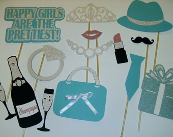 Breakfast at Tiffany's Photo Props / Glitter / Gifts / Drinks / Pearls / Engagement Party (2175D)