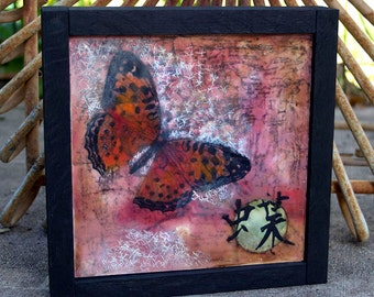 Original encaustic painting - Japanese butterfly