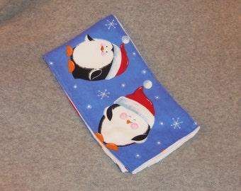 Happy Penguins Burp Cloth Flannel on Cloth Diaper Santa Hat