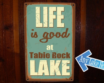 Lake House Sign. Custom, Vintage Lake Sign on Tin. Lake Cabin Sign