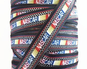 5/8 inch FOE NASCAR Fold Over Elastic Ribbon, Sports Ribbon, Sports Elastic, Hair Tie Ribbon, Elastic Ribbon By The Yard by KC Elastic Ties