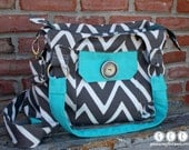 Concealed Carry Purse in Inddor/Outdoor Fabric, Chevron, Charcoal and Aqua, Made in MO, USA