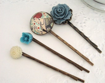Blue Grey Hair Pins, Vintage Inspired Hair Accessories, Set of Four