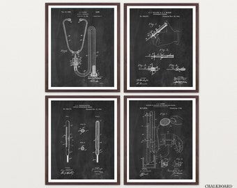 Doctor Patent Collection - Stethescope Patent - Thermometer Patent - Syringe Patent - Doctors Office Art - Doctor Wall Art - Doctor Decor